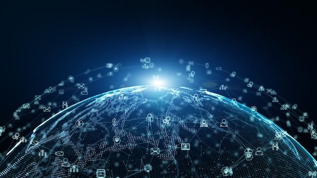 グローバルコミュニケーションのアイコンとデジタルデータネットワーク接続。