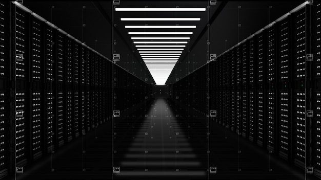 Серверы цифровой сети передачи данных в серверной комнате