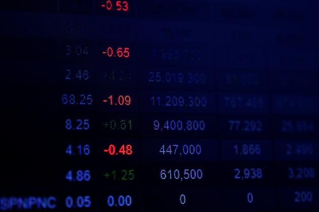 Цифровые данные на экране монитора для онлайн-торговли акциями