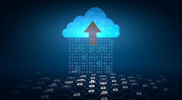 Набор цифровых данных двоичных чисел, отправляемых в облака на синем фоне.