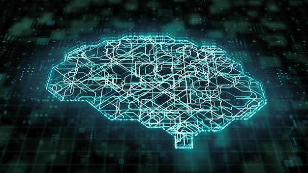 딥 러닝 마이크로프로세서 뇌 회로 내부의 디지털 데이터 전송, 현대 컴퓨터 기술 개념의 인공 지능, 3d 일러스트레이션 빅 데이터 칩 네트워크 처리