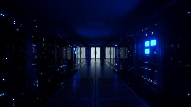 データセンターのサーバールームのガラスパネルの背後にあるデータサーバーへのデジタルデータ送信。高速デジタル回線。 3dイラスト
