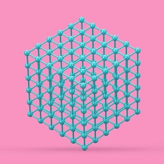 Концепция визуализации цифровых данных. абстрактный синий каркасный атомный сетчатый куб в стиле дуплекса на розовом фоне. 3d рендеринг