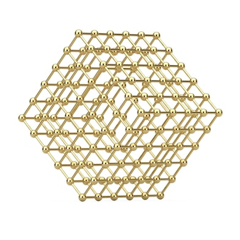 Digital data visualization concept. abstract golden wireframe atom mesh cube on a white background. 3d rendering