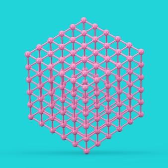 Концепция визуализации цифровых данных. абстрактный розовый каркасный атомный сетчатый куб в стиле дуплекса на синем фоне. 3d рендеринг