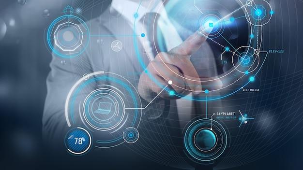 Digital design of a businessman touching a graph