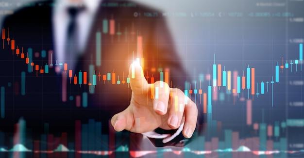 Цифровой дизайн бизнесмена указывая стрелка графа