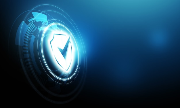 Digital design protection tick icon inside a shield on blue background