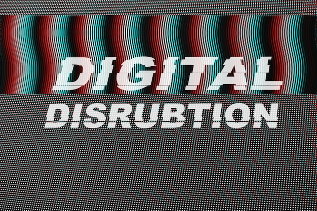 Digital disrubtion text on led screen glitch.
