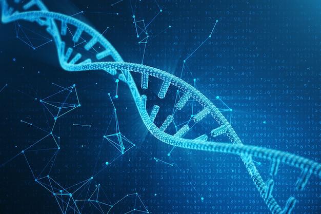 Digital dna molecule, structure. concept binary code human genome. dna molecule with modified genes. 3d illustration