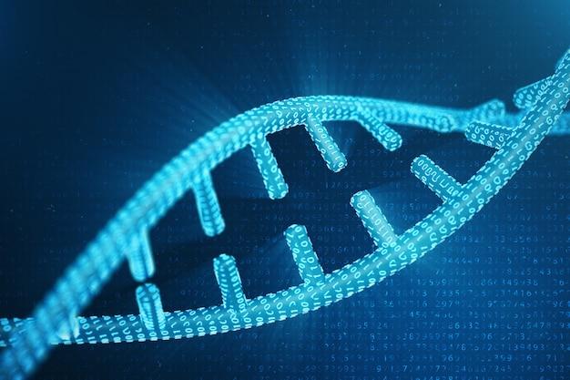 디지털 dna 분자, 구조. 개념 이진 코드 인간 게놈. 변형 된 유전자를 갖는 dna 분자. 3d 일러스트