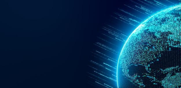 データが流れるネオンライトストライプでサイバースペースを回転するデジタル地球儀