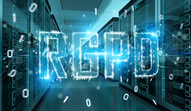 Digital gdpr interface in server room 3d rendering