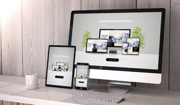 Digital generated devices on desktop, responsive cool website design on screen