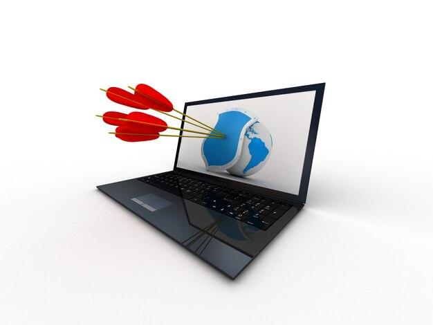 Цифровой целевой компьютер на белом