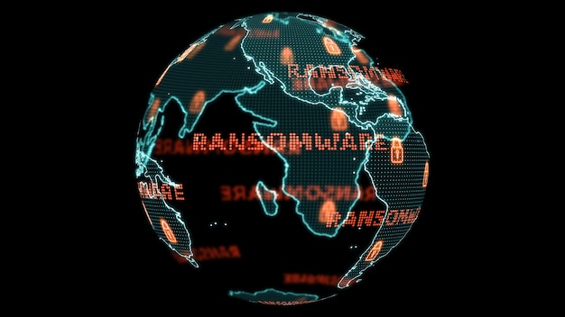 Digital global world map and technology research develpoment analysis to ransomware attack