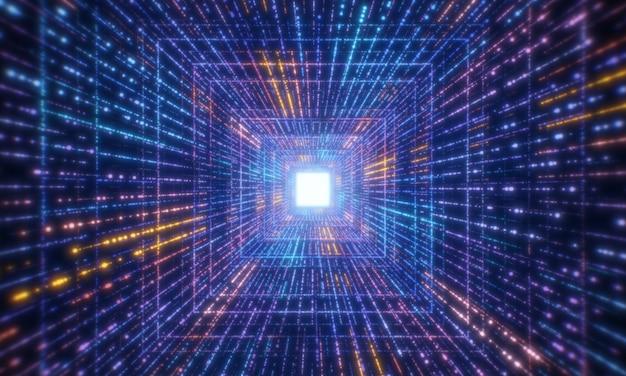 디지털 빛나는 입자 터널 네트워크 추상적 인 배경. 미래 기술 및 컴퓨터 빅 데이터 개념. 사이버 공간 및 사이버 펑크 테마. 3d 렌더링