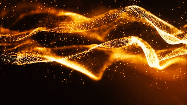 Digital gold color particles wave and bokeh abstract background