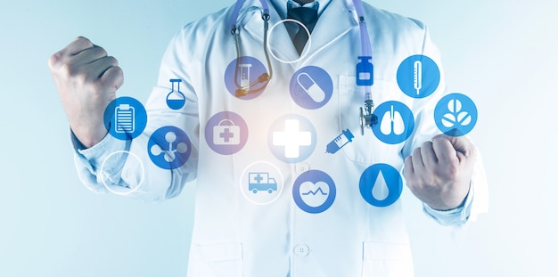 Digital healthcare and network connection on hologram modern virtual screen interface, medical technology and network concept.