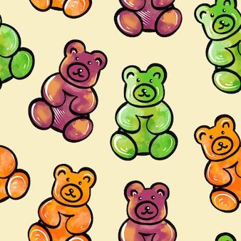 다채로운 테디의 형태로 달콤한 젤리 사탕의 원활한 패턴의 디지털 그림