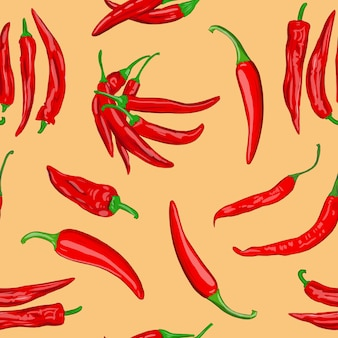 Digital illustration of a seamless pattern of red hot cayenne pepper pods on a orange background