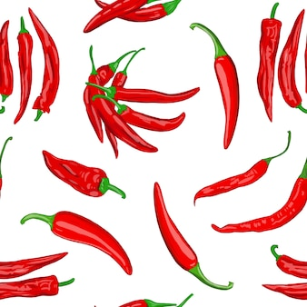 Digital illustration of a seamless pattern of red hot cayenne pepper pods on a white background high Premium Photo