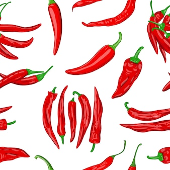 Digital illustration of a seamless pattern of red hot cayenne pepper pods on a white background high