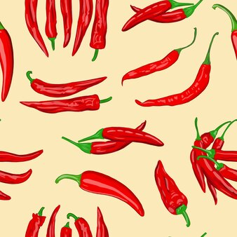 Digital illustration of a seamless pattern of red hot cayenne pepper pods on a yellow background