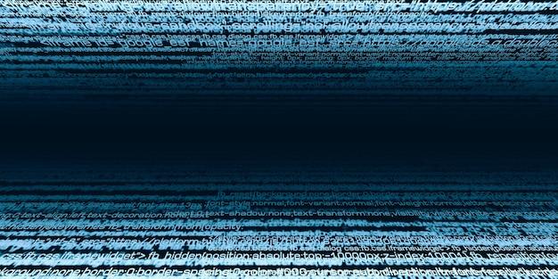 デジタル情報バイナリデータコードコンピュータ命令セット情報セキュリティ技術の条件3dイラストサイバーセキュリティの概念
