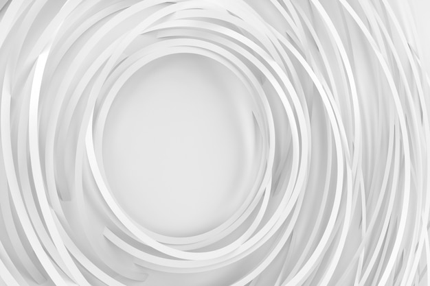 Digital light background of many white rotating rings and forming a frame in the center 3d illustration