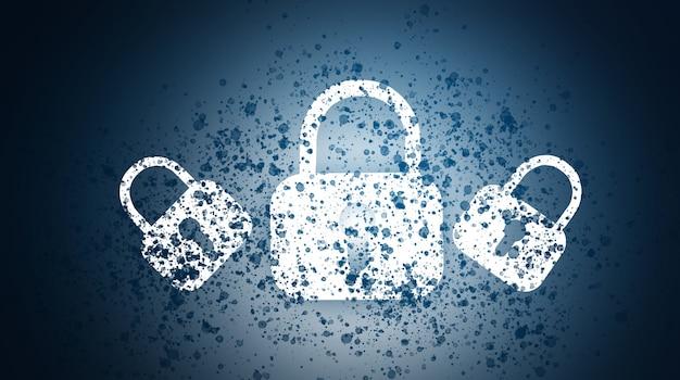 デジタルロック。青い背景の上のコンピュータのセキュリティ