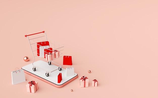 Digital marketing concept, shopping online on mobile application, web banner background, 3d rendering