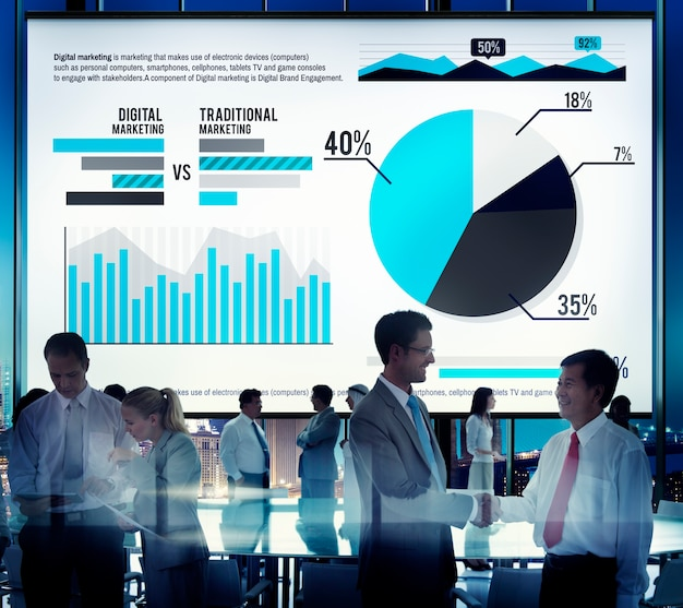 Digital marketing graph statistics analysis finance market conce