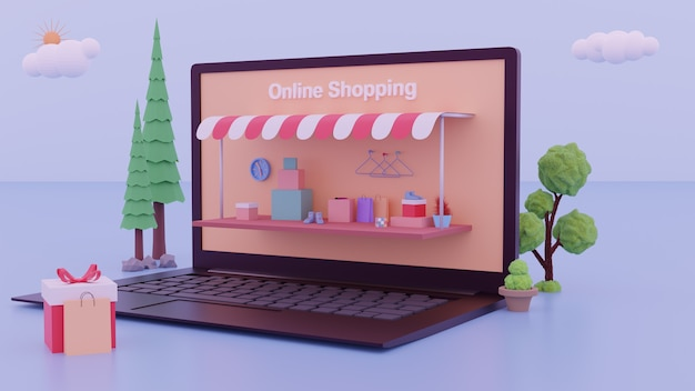Digital marketing landing page with 3d laptop