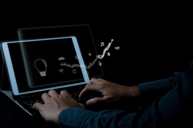 Идея концепции цифрового маркетинга seo фото со специальным инфографическим содержанием