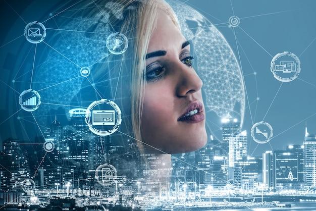 온라인 비즈니스 개념을위한 디지털 마케팅 기술 솔루션
