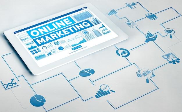 온라인 비즈니스 개념을위한 디지털 마케팅 기술 솔루션.