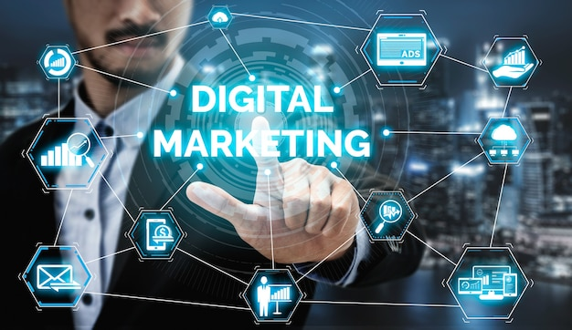 Digital marketing technology solution for online business concept