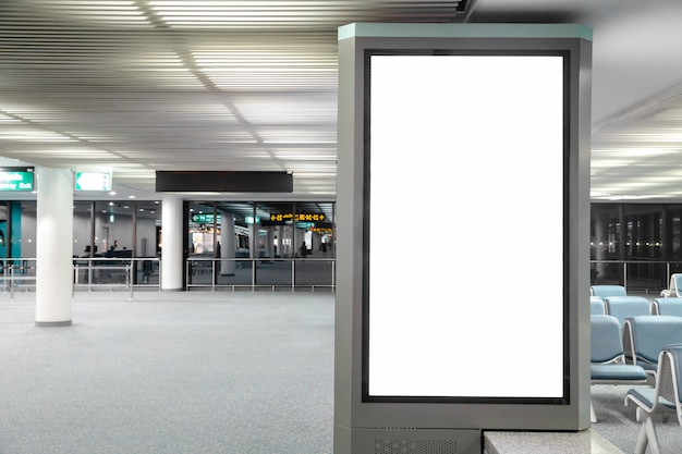 Digital media blank billboard in the airport
