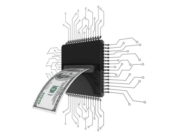 디지털 돈 개념입니다. 흰색 배경에 회로가 있는 마이크로칩 위에 달러 지폐