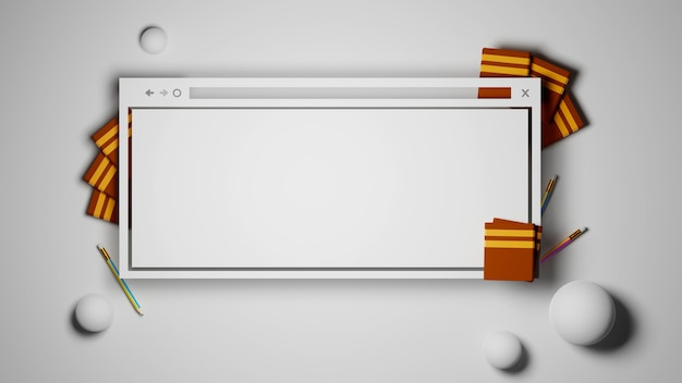 Digital online education. 3d of computer, book, pencil learning on phone website background