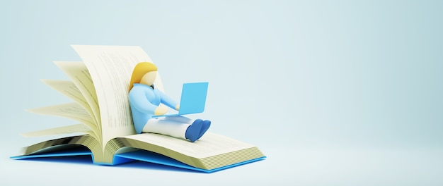 Цифровое онлайн-образование. 3d девушка учится на компьютере по книге. концепция социальной дистанции. классная интернет-сеть.