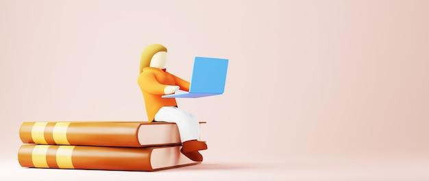Цифровое онлайн-образование. 3d девушка учится на компьютере. концепция социальной дистанции. классная интернет-сеть.
