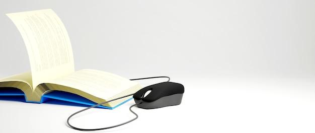 デジタルオンライン教育。電話、コンピューターでの学習についての本とマウスの3d。