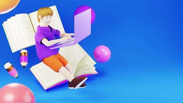 Цифровое онлайн-образование. 3d книг и мальчик, играя в тетрадь об обучении на телефоне, компьютере. концепция социальной дистанции. классная интернет-сеть.