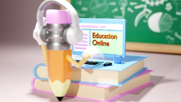 デジタルオンライン教育。電話、コンピューターでの学習についてのコンピューターセットと鉛筆の3d。