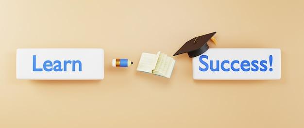 Цифровое онлайн-образование. 3d значок и канцелярские товары об обучении по телефону, компьютеру. концепция социальной дистанции. классная интернет-сеть.
