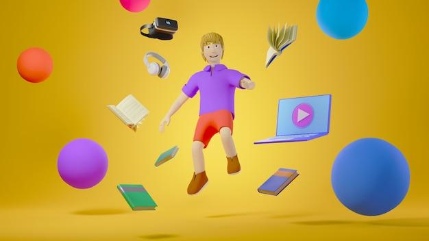 Цифровое онлайн-образование. 3d детские и школьные принадлежности об обучении по телефону, компьютеру. концепция социальной дистанции. классная интернет-сеть.