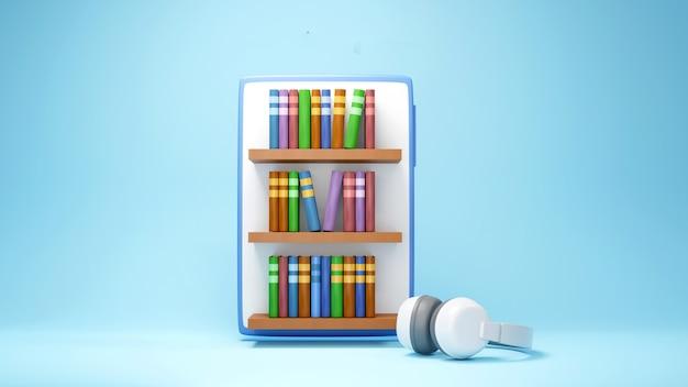 デジタルオンライン教育。オンライン学習についての3dのモバイルと本の棚。