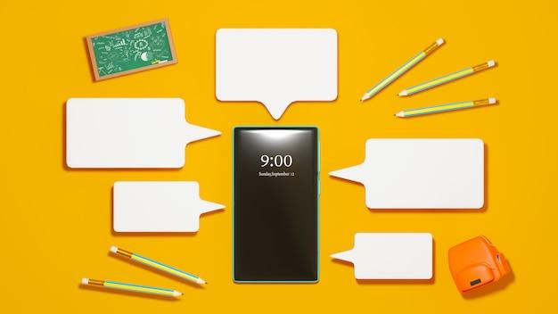 디지털 온라인 교육. 휴대 전화, 컴퓨터 학습에 대한 가방의 3d. 사회적 거리 개념. 교실 온라인 인터넷 네트워크.